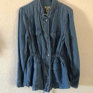 Denim Cinched Waist Jacket